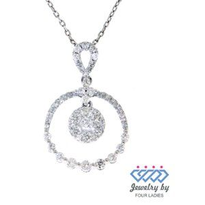 Cluster Diamond Circle Pendant Jewelry